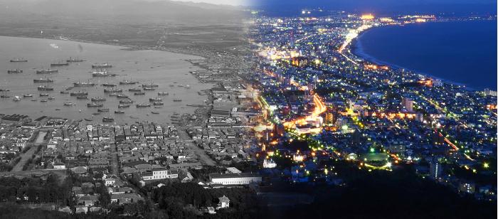 モノクロは田本研造(函館市中央図書館所蔵)、カラーは仙石智義さんの撮影