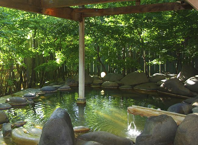 大浴場から続く露天風呂(女湯)。野天めぐりができなくても、内湯の泉質のよさに十分満足できる。湯上り後はしばらく発汗するほど温もり、肌はしっとり(撮影:矢島あづさ)