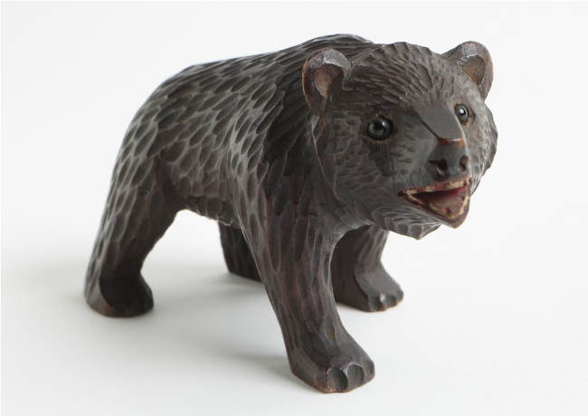 First-generation bear woodcarvings, modeled after Swiss folk crafts