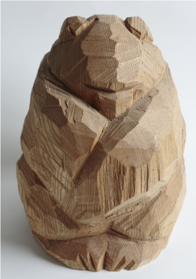 Shibazaki's work appears as if the wood was only cut by hatchet.