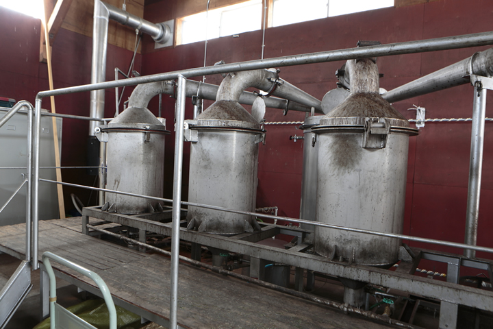 The distillation vats installed in 2001 are still in use.